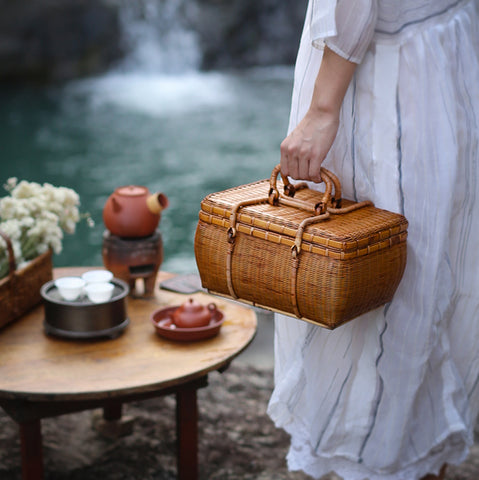 Tea box portable travel tea set storage box hand-woven tea man bamboo bag rattan box exquisite and elegant