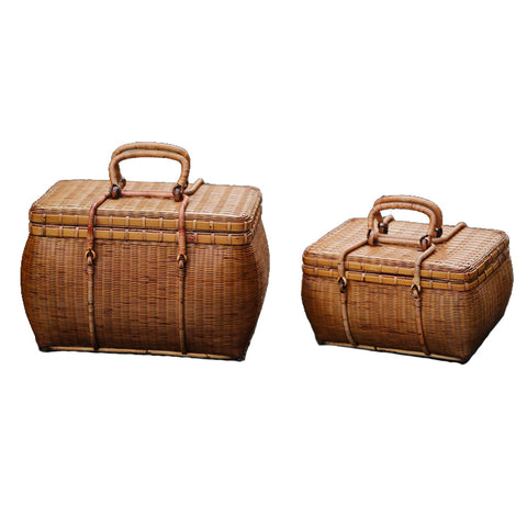 Tea Box Portable Travel Tea Set Storage Box Hand-woven Bamboo Bag Rattan Tour Box Exquisite Elegant