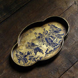 Pure Hand-painted Brass Antique Pot Bearing Song Style Bark Pattern Old Pot Holder Tea Tray Tea Boat