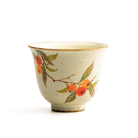 Hand-painted cups Kung Fu tea cup flower god cup Jingdezhen pure handmade ceramic cup