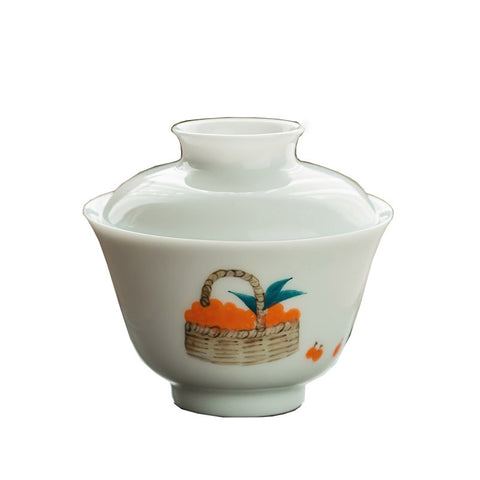 Pure hand-painted cover bowl white porcelain tea bowl teacup ceramic Kung Fu tea set