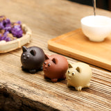 Purple sand handmade mini ceramic cute kitten tea pet ornaments boutique