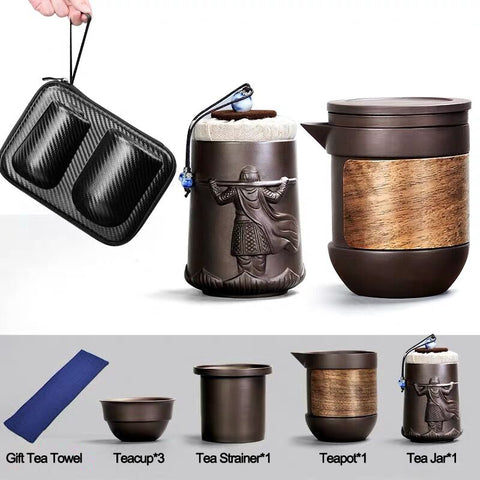 Purple Sand Travel Tea Set Portable Set Tea Cup Home Small One Teapot Three Cups Outdoor Travel Teaware
