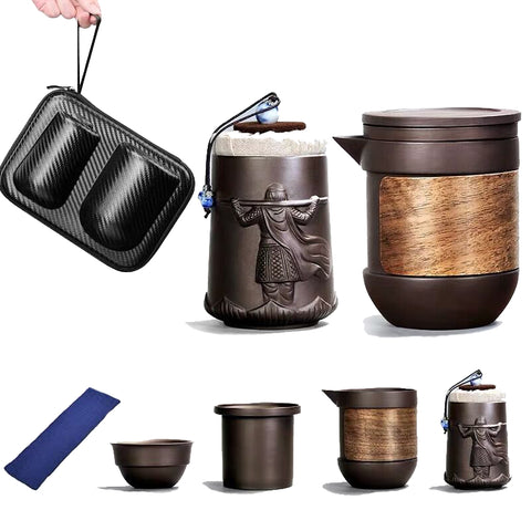 Purple sand travel tea set portable set fast passenger tea cup home small one teapot three cups outdoor travel tea ware