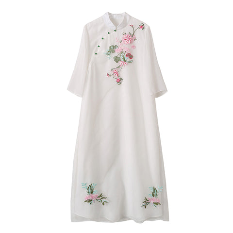 Retro Chinese style women's fairy gas improved cheongsam dress embroidery ethnic Zen literary tea suit