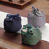 Retro Cotton And Linen Teapot Small Teacup Bag Storage Bag Cloth Bag Travel Portable Tea Set Accessories