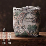 Retro cotton and linen teapot small teacup bag tea set storage bag cloth bag Japanese travel portable tea set accessories