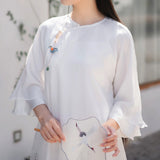 Retro chinese style Ni-Yi cloud dress women's georgette fairy elegant dress tea people suit Zen literary suit