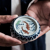 Ru Kiln hand-painted cover mat Jingdezhen pure handmade ceramic cover stand Kung Fu tea accessories ornaments