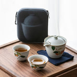 Ru kiln travel tea set portable ceramic express cup Japanese style one pot two cups storage bag travel bag