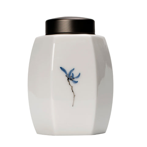 Sealed Japanese medium tea jar ceramic tea warehouse horse mouth iron tea glaze under the color orchid tea storage tank