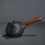 Stoneware Side Pot Black Pottery Antique Wooden Handle Teapot Ceramic Kung Fu Tea Set