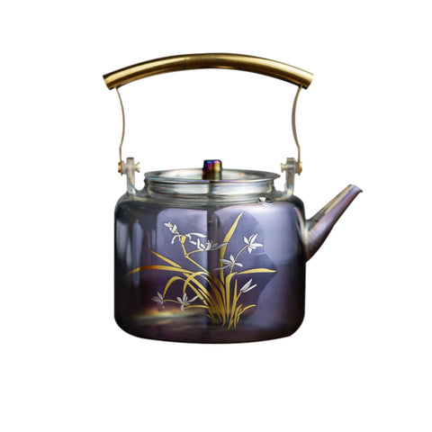 Symphony Heat-resistant glass pot gold and silver burn thickened large-capacity pot literary teapot electric pottery stove special