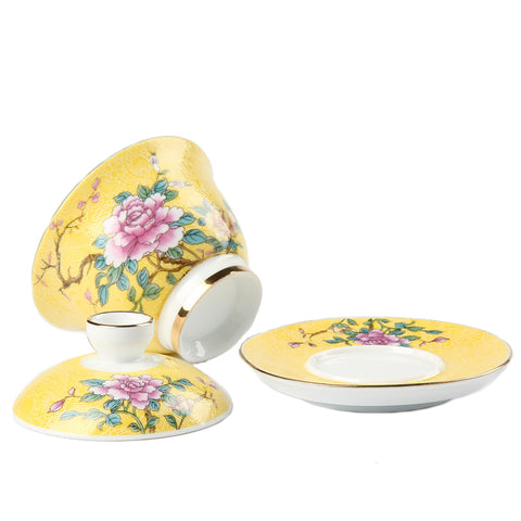 Tao life Jingdezhen ceramic cover bowl tea set hand-painted gradient silk flower three-piece cover bowl tea cup large tea bowl