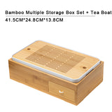 Tea Set Sorting Box Japanese-style Simple Bamboo Tea Tray Tea Boat Household Kung Fu Tea Set Storage Tea Box Multifunctional Box