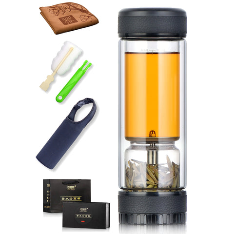 Tea separation glass tea cup double glass creative filter cup men and women tea cup portable high-grade teacup travel tea set Kung Fu teacup - Travel Mug for Loose Leaf - Glass Water Bottle 360/380 ml