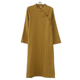 Tea suit female cotton and linen dress literary retro Zen meditation lays tea artist costume tea ceremony