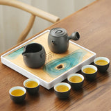 Tea tray bamboo storage water Japanese simple dry bubble tray small tea sea creative portable tray tea set
