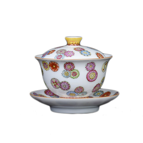 Travel Tea Set Hand-painted Leather Ball Cover Bowl Set Ceramic Household Simple Tureen Kungfu Portable Tour Sancai Bowl