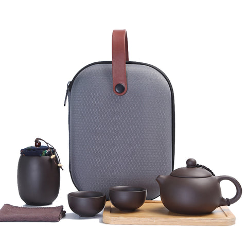 Travel tea set portable bag fast passenger cup one teapot two cups purple sand kung fu travel teapot
