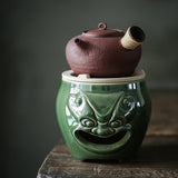 Turquoise Green Beast Noodles White Clay Wind Stove Charcoal Stove Tea Maker Lion Head Beast Noodle Stove