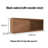 Wall Hanging Cabinet Black Walnut Wood Frame Zen Simple Tea Set Wall Cabinet Old Elm Wood Hanging Cabinet Wall Cabinet