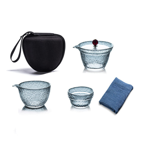 Hammered texture glass travel tea set portable bag with Kung Fu bubble teapot