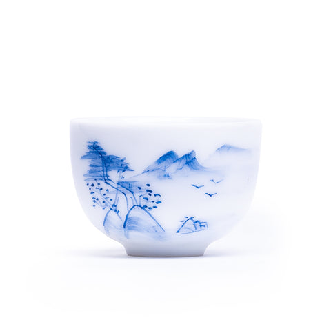 White porcelain hand-painted underglaze color tea cup small cup master cup ceramic kungfu tea set cup tea bowl