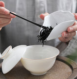 White porcelain tea lotus ceramic cha ze Kung Fu tea accessories