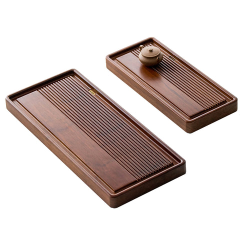 Whole heavy bamboo tea tray Bamboo tea table rectangular simple household tea sea size small drain tea tray