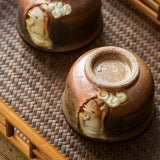 Wood Kiln Hand-carved Buddha Face Teacup Ceramics Falling Ash Cup Master Cup Personal Cup Single Chai Kiln Kungfu Tea Set