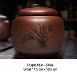 Yixing Zisha tea cans large trumpet sealed jar Pu'er storage caddy household ceramic tea jar gift box