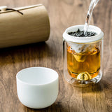 Yunshan Tea Cup Portable Tea Cup Glass Double Layer Filter Cup Kung Fu Travel Tea Set Concentric Cup