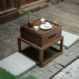 Zen small tea table bay window table tatami coffee table Japanese-style balcony original black walnut wooden table tea table