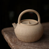 White Clay Kettle Hand-carved Poetry White Clay Pot Carved Heart Sutra Pot Sand Diao Kettle