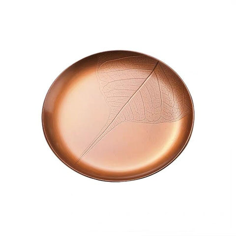 Tea ceremony Japanese copper cup holder hand hammer pattern coaster metal round insulation pad Kung Fu tea ceremony accessories