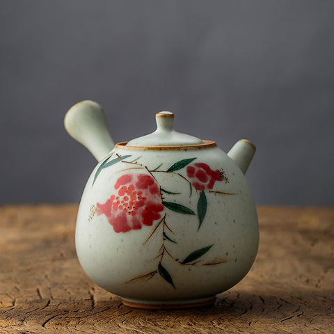 Flowers Pot Painted Mountain Fruit Flower Side Pot Pottery Teapot Ceramic Handcraft Art Pot