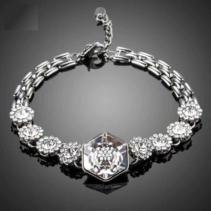 Sparkling Crystal Flowers Watch Chain Bracelets