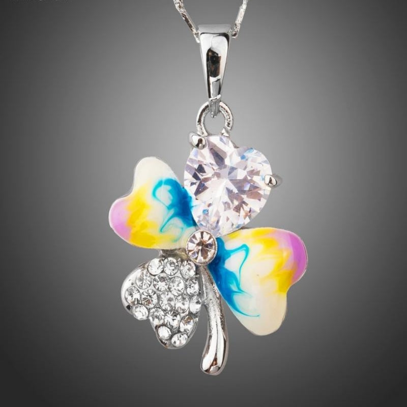 Heart of Love Clover Oil Painting Cubic Zirconia Pendant Necklace