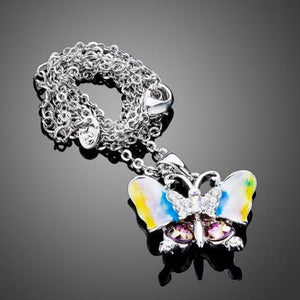 Multi-color Austrian Crystals Oil Painting Pattern Butterfly Pendant Necklace