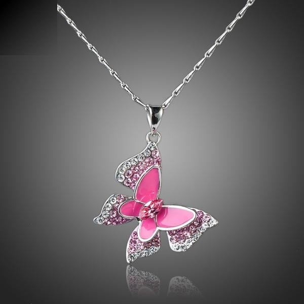 Sparkling Pink Butterfly Necklace