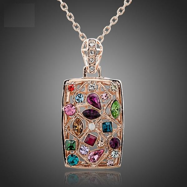 Gorgeous Multicolored Crystal Pendant Necklace