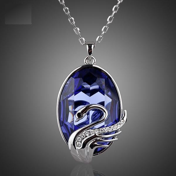 Shapely Swans With Blue Color CZ Pendant Necklace