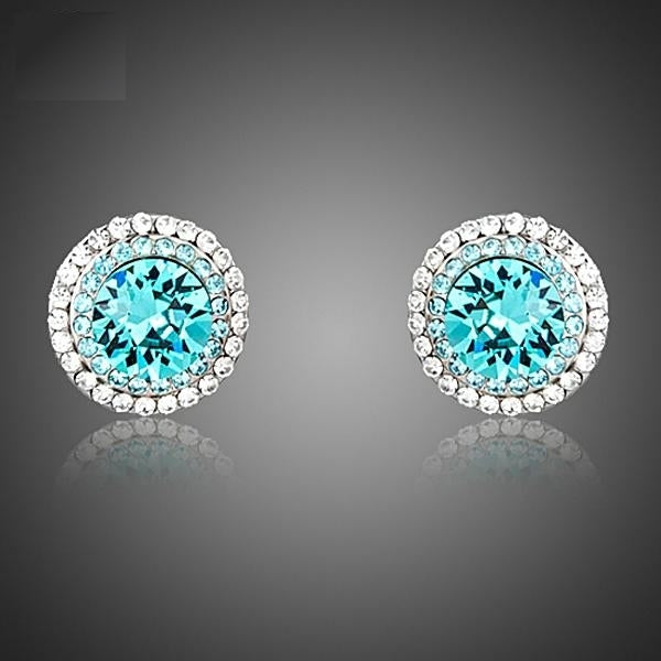Sparkling Blue Crystals Stud Earrings