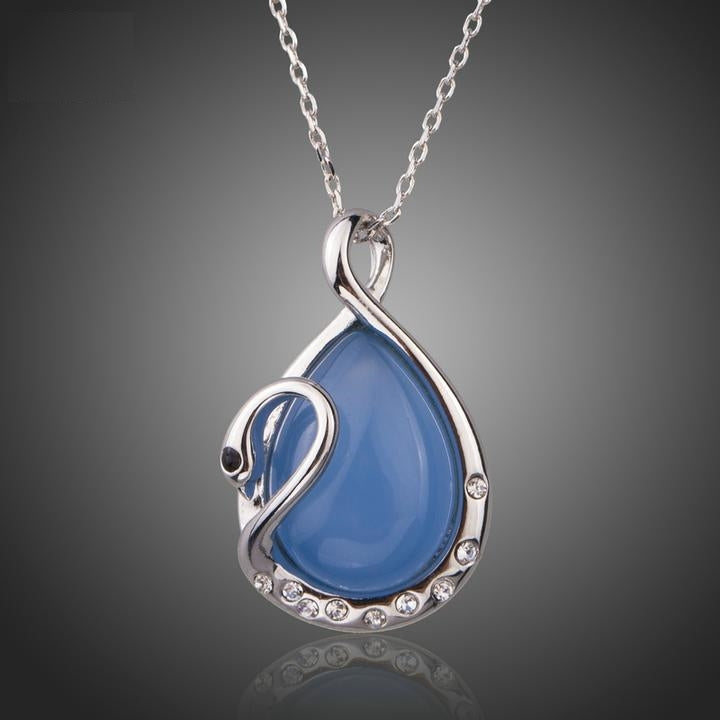 Shapely Water Drop with Crystal Swan Pendant Necklace