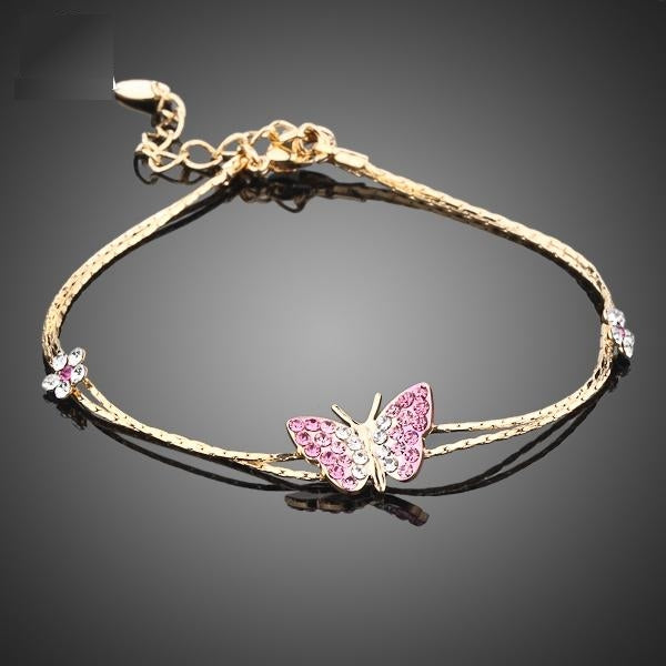Intriguing Butterfly and Flower Bracelet