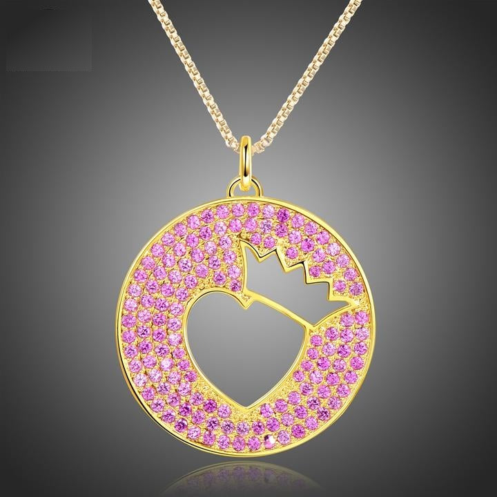 Luxurious Gold Crown Heart Pendant Necklaces