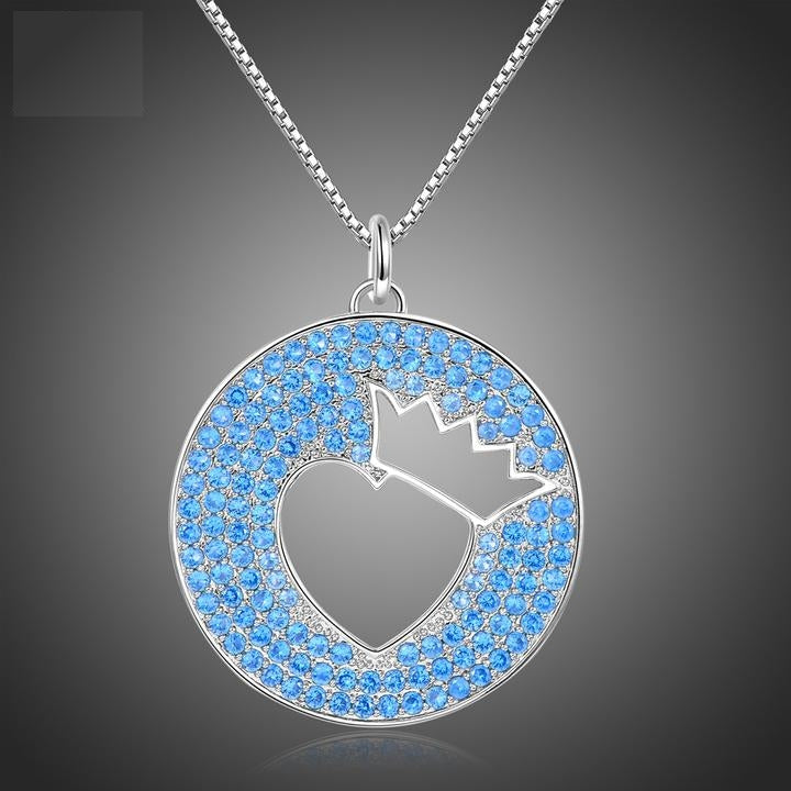 Romantic Crown Love Heart Blue CZ Necklaces