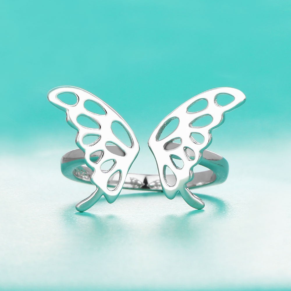 Sparkling Butterfly Silver Rings