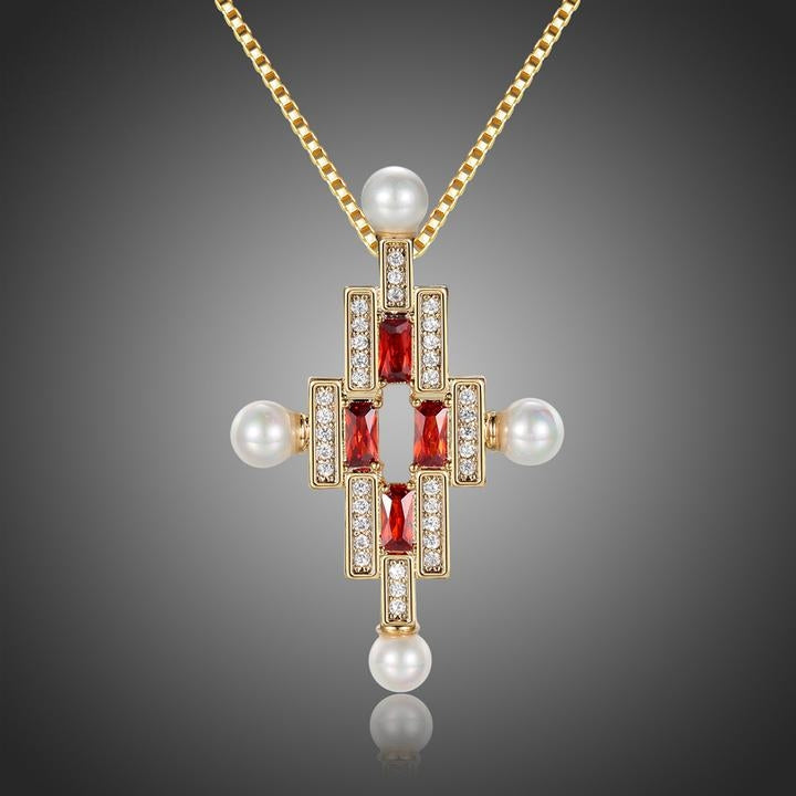 Classic Red CZ Cross Pearl Necklace